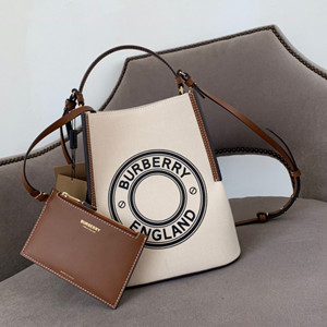 burberry small logo graphic cotton canvas peggy bucket bag