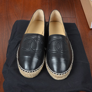 chanel leather espadrilles flat shoes